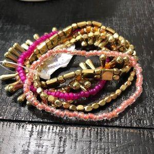 Set of 5 NWT Stretch Bracelets Gold, Orange, Pink!
